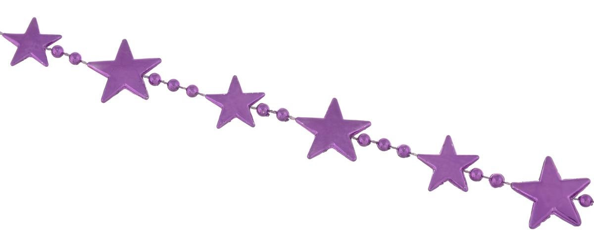 Гирлянда новогодняя EuroHouse Звезды, цвет: фиолетовый, длина 2 мЕХ 9193Новогодняя гирляндаEuroHouse Бусы. Звезды отлично подойдет для декорации вашего дома и новогодней ели. Изделие, выполненное из пластика, представляет собой гирлянду, на текстильной нити, на которой нанизаны фигурки в виде звезд и бусин. Новогодние украшения несут в себе волшебство и красоту праздника. Они помогут вам украсить дом к предстоящим праздникам и оживить интерьер по вашему вкусу. Создайте в доме атмосферу тепла, веселья и радости, украшая его всей семьей. Размер фигурки в виде звезды: 2 см х 2 см х 0,2 см.Диаметр бусины: 0,4 см.