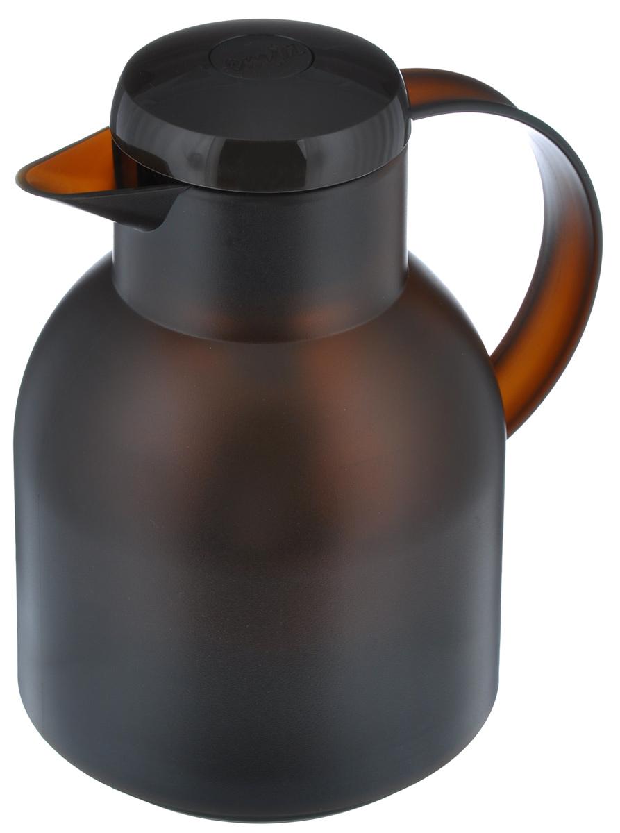 Термос-кофейник Emsa Samba, цвет: коричневый, 1 л509820Удобный термос-кофейник Emsa Samba станет незаменимым аксессуаром в поездках, выездах на природу, дачу, рыбалку или пикник. Корпус кувшина выполнен из высококачественного пластика, а колба - из стекла. На крышке изделия имеется кнопка, с помощью которой вы сможете легко открыть герметичный клапан, а удобные носик и ручка позволят аккуратно разлить содержимое по стаканам. Пробка разбирается и превосходно моется.Диаметр горлышка: 7 см.Диаметр дна: 14 см.Высота термоса: 21 см.