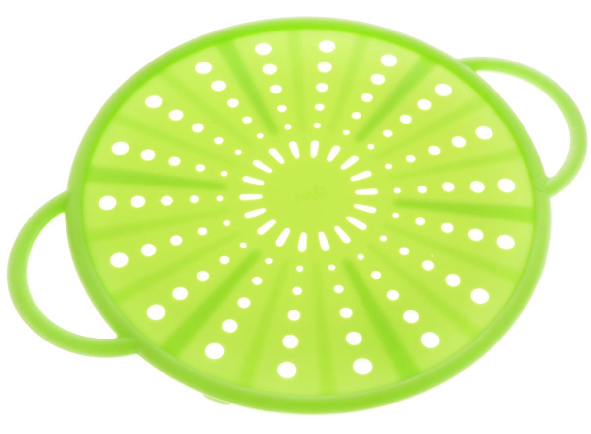 Экран защитный Emsa Smart Kitchen, цвет: салатовый, диаметр 21 см514556Защитный экран Emsa Smart Kitchen, изготовленный из силикона и стали, защитит вас от брызг раскаленного масла при жарке. Изделие также можно использовать в качестве защитной крышки при разогреве пищи в микроволновой печи, а также в качестве подставки для горячих блюд.Можно мыть в посудомоечной машине.Выдерживает температуру до +230°С. Длина изделия (вместе с ручками): 26,5 см.