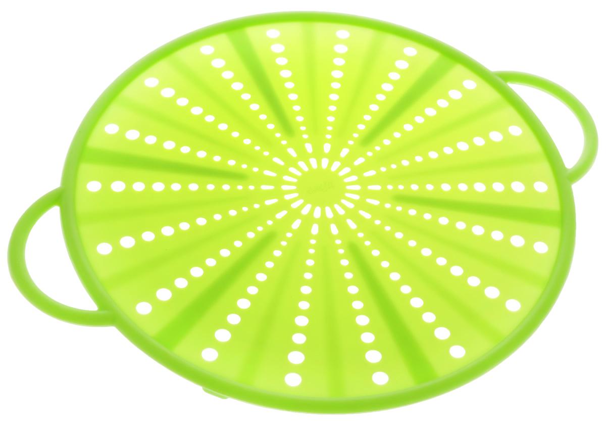 """Защитный экран Emsa """"Smart Kitchen"""", изготовленный из силикона и стали, защитит вас от брызг раскаленного масла при жарке. Изделие также можно использовать в качестве защитной крышки при разогреве пищи в микроволновой печи, а также в качестве подставки для горячих блюд.    Можно мыть в посудомоечной машине. Выдерживает температуру до +230°С.  Длина изделия (вместе с ручками): 31,5 см."""