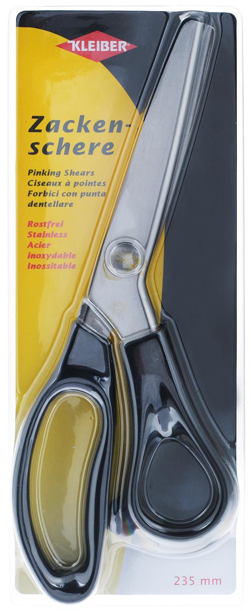 Ножницы Kleiber Зигзаг, длина 23,5 см920-42Ножницы Kleiber Зигзаг изготовлены из закаленной нержавеющей стали с удобными ручками и лезвиями для формирования отреза зигзагом. Они легко режут ткань, не заминая ее, и образуя аккуратный зубчатый край. Используются для обработки кромки изделий из ткани и других материалов, не склонных к обсыпанию. Обработка такими ножницами позволяет обойтись без обметывания краев.Длина ножниц: 23,5 см.Длина лезвий: 8 см.