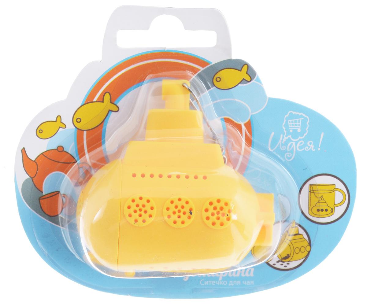 Ситечко для чая Идея Субмарина, цвет: желтыйSBM-01_желтСитечко Идея Субмарина прекрасно подходит для заваривания любого вида чая. Изделие выполнено из пищевого силикона в виде подводной лодки. Ситечком очень легко пользоваться. Просто насыпьте заварку внутрь и погрузите субмарину на дно кружки. Изделие снабжено металлической цепочкой с крючком на конце. Забавная и приятная вещица для вашего домашнего чаепития. Не рекомендуется мыть в посудомоечной машине. Размер фигурки: 6 см х 5,5 см х 3 см.
