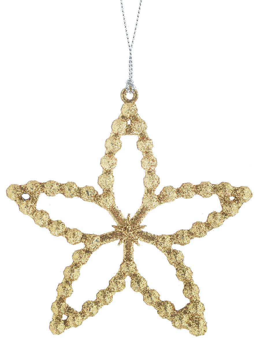 Новогоднее подвесное украшение Феникс-Презент Звездочка, цвет: золотистый34986Новогоднее украшение Феникс-Презент Звездочка отлично подойдет для декорации вашего дома и праздничной ели. Изделие выполнено из пластика в виде звезды, декорированной блестками, и оснащено текстильной петелькой для подвешивания. Елочная игрушка - символ Нового года. Она несет в себе волшебство и красоту праздника. Создайте в своем доме атмосферу веселья и радости, украшая всей семьей новогоднюю елку нарядными игрушками, которые будут из года в год накапливать теплоту воспоминаний.