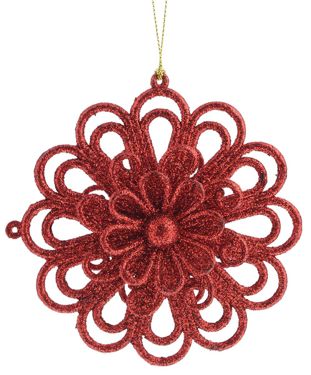 """Новогоднее подвесное украшение Феникс-Презент """"Цветочек"""", цвет: красный"""