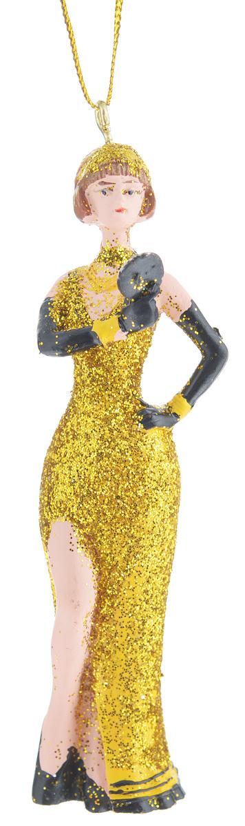 Новогоднее подвесное украшение Феникс-презент. 3832638326Новогоднее подвесное украшение Феникс-презент отлично подойдет для декора праздничной ели. Изделие выполнено из полирезины в виде девушки в длинном вечернем платье. Игрушка декорирована блестками и оснащена петелькой для подвешивания на елку.Елочная игрушка - символ Нового года. Она несет в себе волшебство и красоту праздника. Создайте в своем доме атмосферу веселья и радости, украшая новогоднюю елку нарядными игрушками, которые будут из года в год накапливать теплоту воспоминаний.