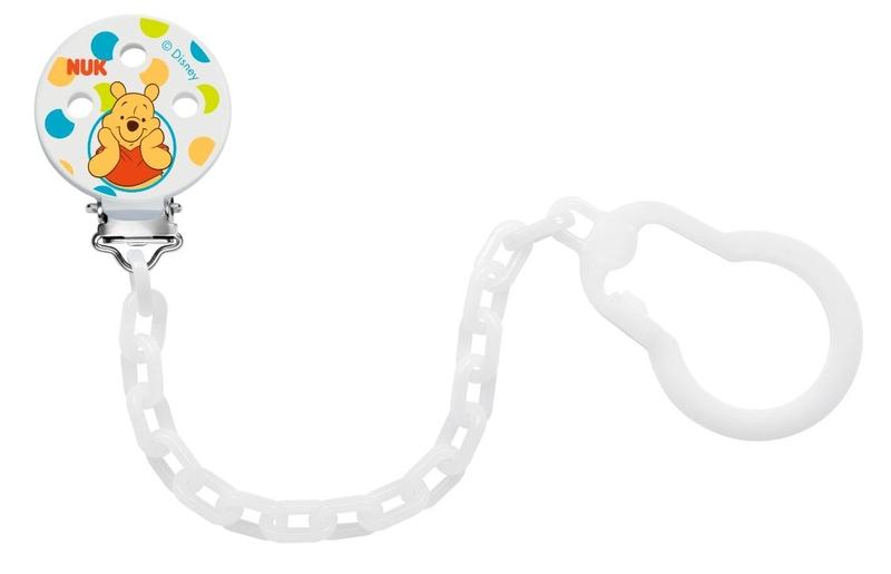 NUK Клипса-держатель для пустышки Disney цвет белый babyono клипса держатель для пустышки коровка цвет бежевый