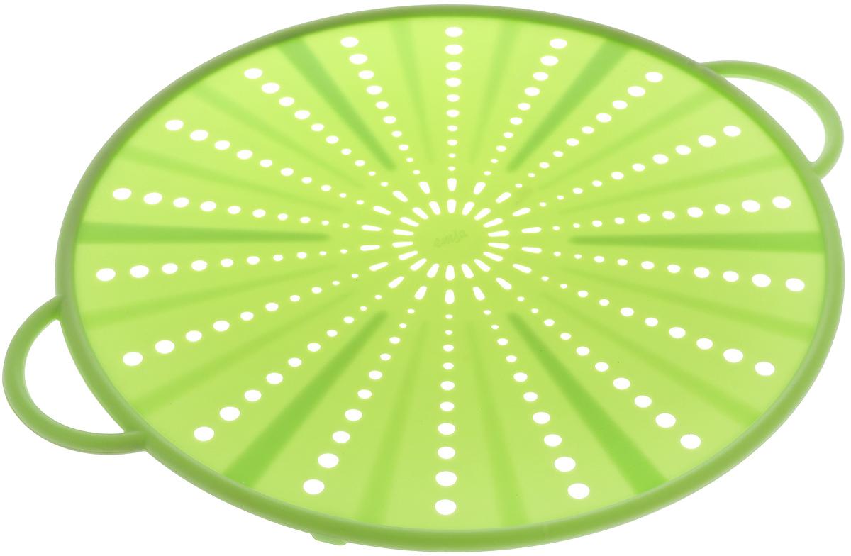 Экран защитный Emsa Smart Kitchen, цвет: салатовый, диаметр 31 см514558Защитный экран Emsa Smart Kitchen, изготовленный из силикона и стали, защитит вас от брызг раскаленного масла при жарке. Изделие также можно использовать в качестве защитной крышки при разогреве пищи в микроволновой печи, а также в качестве подставки для горячих блюд.Можно мыть в посудомоечной машине.Выдерживает температуру до +230°С. Длина изделия (вместе с ручками): 36,5 см.