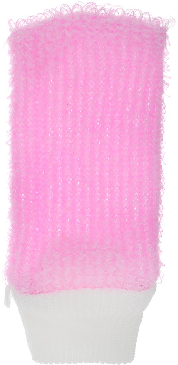 Мочалка Eva Рукавица, цвет: розовый, белый, 11 х 22 см мочалка рукавица banika сизаль м444