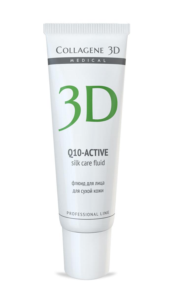 Medical Collagene 3D Флюид для лица Q10, 30 мл106001Флюид с легкой тающей текстурой создает на коже шелковую вуаль. Активный антиоксидант коэнзим Q10, ценные масла авокадо и жожоба, входящие в состав, увлажняют кожу, насыщают ее питательными веществами.