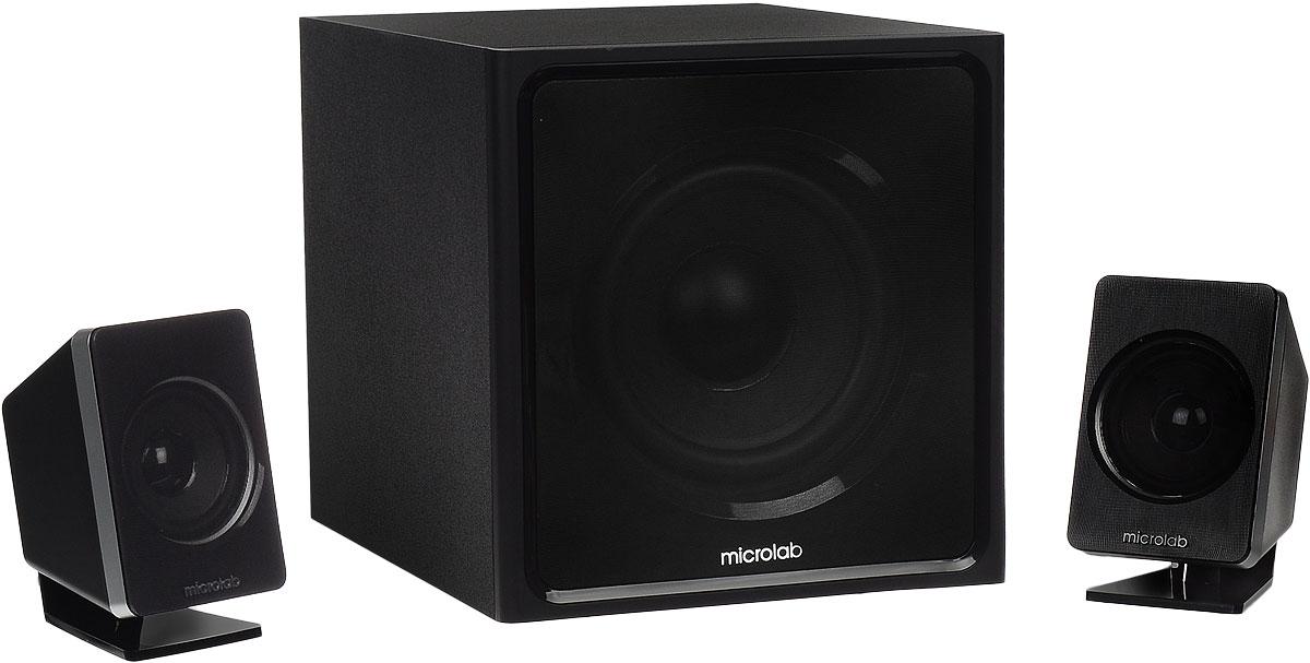 Microlab M-800 2.1 акустическая системаM-800 2.1Активная акустическая система Microlab M-800 2.1 со встроенным усилителем и мощным сабвуфером. Громкоговорители системы сконструированы из качественных материалов, позволяющих максимально сохранить реалистичность звучания.Оригинальный и в тоже время презентабельный внешний вид акустики удачно впишется в дизайн любого помещения - в гостиной, в детской комнате или кабинете. Совместимость с большинством медиаплееров (ПК, ноутбук, MP3/MP4/CD/DVD плеер, телевизор, мобильный телефон) делает систему универсальной и почти идеальной для мультимедийных развлечений (кино, игр, прослушивания музыки). Для более глубокого насыщенного баса используется сабвуфер фазоинверторного типа. Размещение органов управления на боковой панели позволяет легко менять настройки громкости, низких и высоких частот.Разделение каналов: 45 дБНелинейные искажения: 0,3 % (1Вт на 1 кГц)Диаметр твитера: 3Диаметр сабвуфера: 6,5