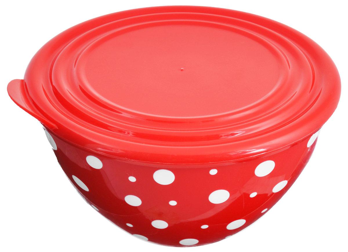 Салатник Альтернатива Горошек, с крышкой, цвет: красный, белый, 1,45 лМ2686Салатник Альтернатива Горошек изготовлен из высококачественного пищевого пластика. Изделие очень прочное, оно не разобьется и сохранит свой внешний вид в течение долгого времени. Внешние стенки украшены ярким принтом в горошек. Салатник подходит для сервировки салатов, закусок, соусов, фруктов, ягод и других блюд. Снабжен герметичной крышкой, что позволяет дольше сохранять продукты свежими и предотвращает заветривание, если вы храните пищу в холодильнике. Яркий стильный дизайн сделает такой салатник украшением сервировки стола.Диаметр салатника (по верхнему краю): 17,5 см.