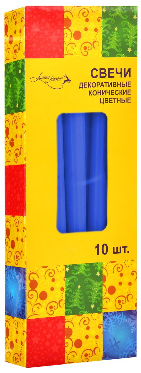 Набор декоративных свечей Lunten Ranta, цвет: синий, высота 25 см, 10 шт54288_4Набор Lunten Ranta состоит из 10 декоративных свечей конической формы, изготовленных из парафина. Такой набор украсит интерьер вашего дома или офиса и наполнит его атмосферу теплом и уютом.Диаметр основания свечи: 2 см.