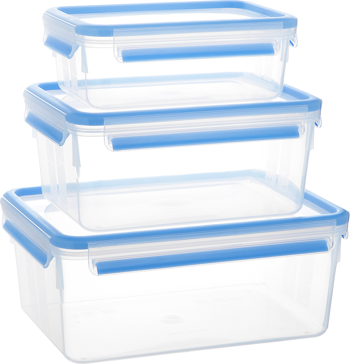 Набор контейнеров Emsa Clip&Close, 3 шт. 508567508567Набор Emsa Clip&Close состоит из трех контейнеров разного объема, изготовленных из высококачественного пищевого пластика, который выдерживает температуру от -40°С до +110°С, не впитывает запахи и не изменяет цвет. Это абсолютно гигиеничный продукт, который подходит для хранения даже детского питания. Изделия снабжены крышками, плотно закрывающимися на 4 защелки. Герметичность достигается за счет специальных силиконовых прослоек, которые позволяют использовать контейнер для хранения не только пищи, но и напитков. В таком контейнере продукты долгое время сохраняют свою свежесть. Прозрачные стенки позволяют просматривать содержимое. Сбоку имеются отметки литража. Изделия подходят для домашнего использования, для пикников, поездок, такие контейнеры удобно брать с собой на работу или учебу. Можно использовать в СВЧ-печах, холодильниках, посудомоечных машинах, морозильных камерах. Объем контейнеров: 1 л, 2,3 л, 3,7 л. Размер контейнеров: 19 см х 13 см х 7 см; 22 см х 16 см х 10 см; 26 см х 19 см х 11 см.