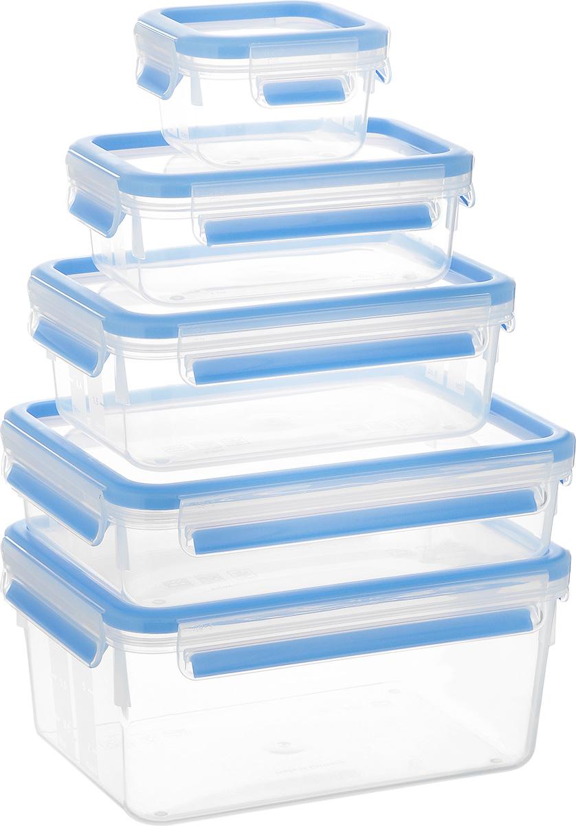 """Набор Emsa """"Clip&Close"""" состоит из пяти контейнеров разного объема, изготовленных из высококачественного пищевого пластика, который выдерживает температуру от -40°С до +110°С, не впитывает запахи и не изменяет цвет. Это абсолютно гигиеничный продукт, который подходит для хранения даже детского питания.  Изделия снабжены крышками, плотно закрывающимися на 4 защелки. Герметичность достигается за счет специальных силиконовых прослоек, которые позволяют использовать контейнер для хранения не только пищи, но и напитков. В таком контейнере продукты долгое время сохраняют свою свежесть. Прозрачные стенки позволяют просматривать содержимое. Сбоку имеются отметки литража.  Изделия подходят для домашнего использования, для пикников, поездок, такие контейнеры удобно брать с собой на работу или учебу.  Можно использовать в СВЧ-печах, холодильниках, посудомоечных машинах, морозильных камерах.  Объем контейнеров: 0,25 л, 0,55 л, 1 л, 1,2 л, 2,3 л.  Размер контейнеров: 9 см х 9 см х 6 см; 16 см х 11 см х 6 см; 19 см х 13 см х 7 см; 22 см х 16 см х 10 см; 22 см х 16 см х 10 см."""