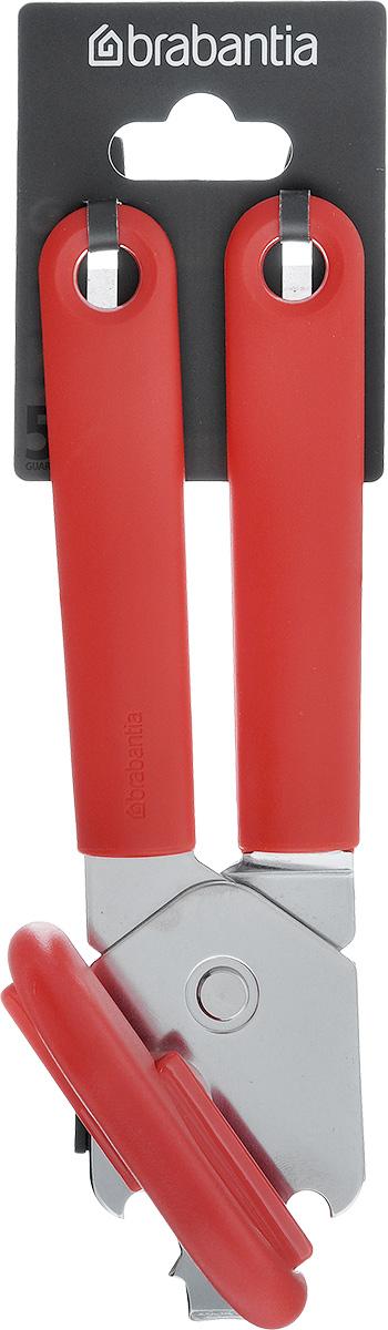 Открывалка для консервов Brabantia Tasty Colours, цвет: красный. 106309106309Открывалка для консервов Brabantia с надежным классическим механизмом открывания легко и безопасно открывает все стандартные типы консервных банок, не оставляя заусенцев на краях. Открывалка может использоваться также для снятия кроненпробок и крышек. Ручки изготовлены из прочного пластика, рабочая часть - из нержавеющей стали. На рукоятках имеются петельки для подвешивания.Изделие легко моется - можно мыть в посудомоечной машине.Добавьте цвета и настроения в интерьер своей кухни с коллекцией кухонных принадлежностей от Brabantia Tasty Tools в палитре аппетитных оттенков.