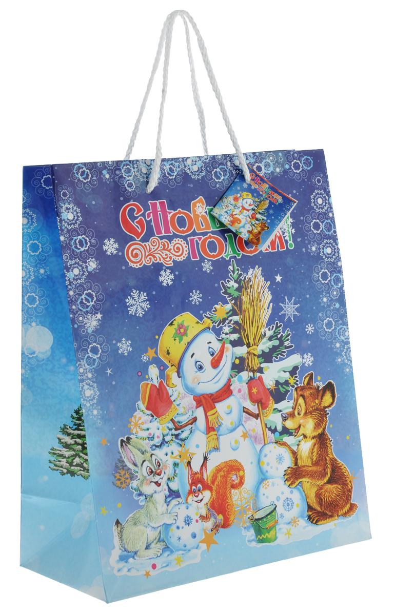 Пакет подарочный Феникс-Презент Снеговик, 26 х 33 х 13 см35210Подарочный пакет Феникс-презент Снеговик, изготовленный из плотной бумаги, станет незаменимым дополнением к выбранному подарку. Дно изделия укреплено картоном, который позволяет сохранить форму пакета и исключает возможность деформации дна под тяжестью подарка. Для удобной переноски на пакете имеются две ручки из шнурков.Подарок, преподнесенный в оригинальной упаковке, всегда будет самым эффектным и запоминающимся. Окружите близких людей вниманием и заботой, вручив презент в нарядном, праздничном оформлении.Плотность бумаги: 140 г/м2.