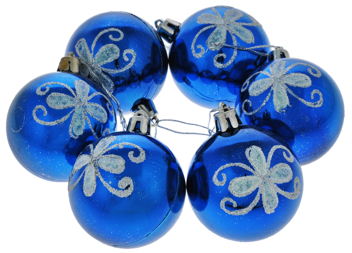 Набор новогодних подвесных украшений Euro House, цвет: синий, серебристый, диаметр 6 см, 6 шт. ЕХ 9228ЕХ 9228Набор новогодних подвесных украшений Euro House прекрасно подойдет для праздничного декора новогодней ели. Набор состоит из 6 пластиковых украшений в виде глянцевых шаров, оформленных ярким изображением цветочных узоров и блестками. Для удобного размещения на елке для каждого украшения предусмотрена петелька, выполненная из текстиля.Елочная игрушка - символ Нового года. Она несет в себе волшебство и красоту праздника. Создайте в своем доме атмосферу веселья и радости, украшая новогоднюю елку нарядными игрушками, которые будут из года в год накапливать теплоту воспоминаний. Откройте для себя удивительный мир сказок и грез. Почувствуйте волшебные минуты ожидания праздника, создайте новогоднее настроение вашим дорогим и близким.