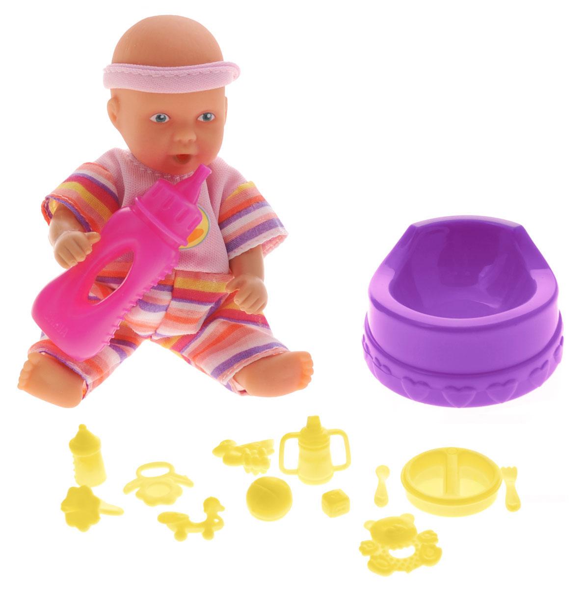 Simba Пупс Mini New Born Baby цвет бутылочки розовый baby born ботиночки для кукол цвет голубой белый оранжевый 2 пары