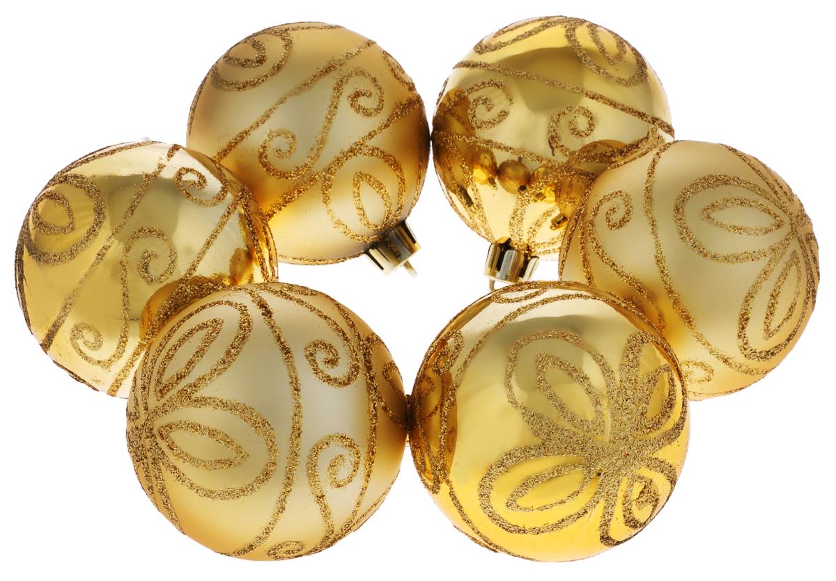 Набор новогодних подвесных украшений Феникс-презент Рококо, цвет: золотистый, диаметр 6 см, 6 шт39006Набор подвесных украшений Феникс-презент Рококо прекрасно подойдет для праздничного декора новогодней ели. Набор состоит из 6 пластиковых украшений в виде шаров, оформленных изящным цветочным узором и блестками. Для удобного размещения на елке для каждого украшения предусмотрена петелька, выполненная из текстиля.Елочная игрушка - символ Нового года. Она несет в себе волшебство и красоту праздника. Создайте в своем доме атмосферу веселья и радости, украшая новогоднюю елку нарядными игрушками, которые будут из года в год накапливать теплоту воспоминаний. Откройте для себя удивительный мир сказок и грез. Почувствуйте волшебные минуты ожидания праздника, создайте новогоднее настроение вашим дорогим и близким.