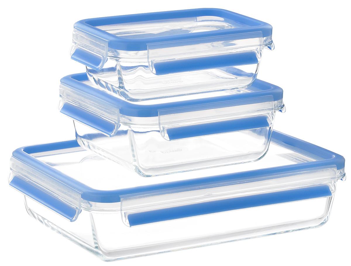 Набор контейнеров Emsa Clip&Close Glass, цвет: голубой, прозрачный, 3 шт514168_голубой, прозрачныйНабор Emsa Clip&Close Glass состоит из трех контейнеров разного объема, изготовленных из жаропрочного диамантового стекла, которое не впитывает запахи и не изменяет цвет. Это абсолютно гигиеничный продукт, который подходит для хранения даже детского питания. Изделия снабжены крышками, плотно закрывающимися на 4 защелки. Герметичность достигается за счет специальных силиконовых прослоек, которые позволяют использовать контейнер для хранения не только пищи, но и жидкости. В таком контейнере продукты долгое время сохраняют свою свежесть. Прозрачные стенки позволяют просматривать содержимое. Изделия подходят для домашнего использования, в них удобно запекать, разогревать и хранить пищу. Можно использовать в СВЧ-печах, холодильниках, духовых шкафах, посудомоечных машинах, морозильных камерах. Размер контейнера на 0,5 л: 16 х 11 х 6 см.Размер контейнера на 0,9 л: 16 х 16 х 7 см.Размер контейнера на 2 л: 26 х 19 х 7 см.