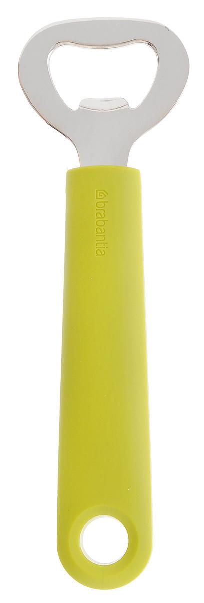 Открывалка для бутылок Brabantia Tasty Colours, цвет: зеленый. 106521106521Легко открывает любые бутылки с кронепробками. Удобна в использовании благодаря длинной ручке и оптимальному рычагу. Ручка из прочного пластика, рабочая часть – из нержавеющей стали. Подходит для мытья в посудомоечной машине. Удобно хранить – петелька для подвешивания.