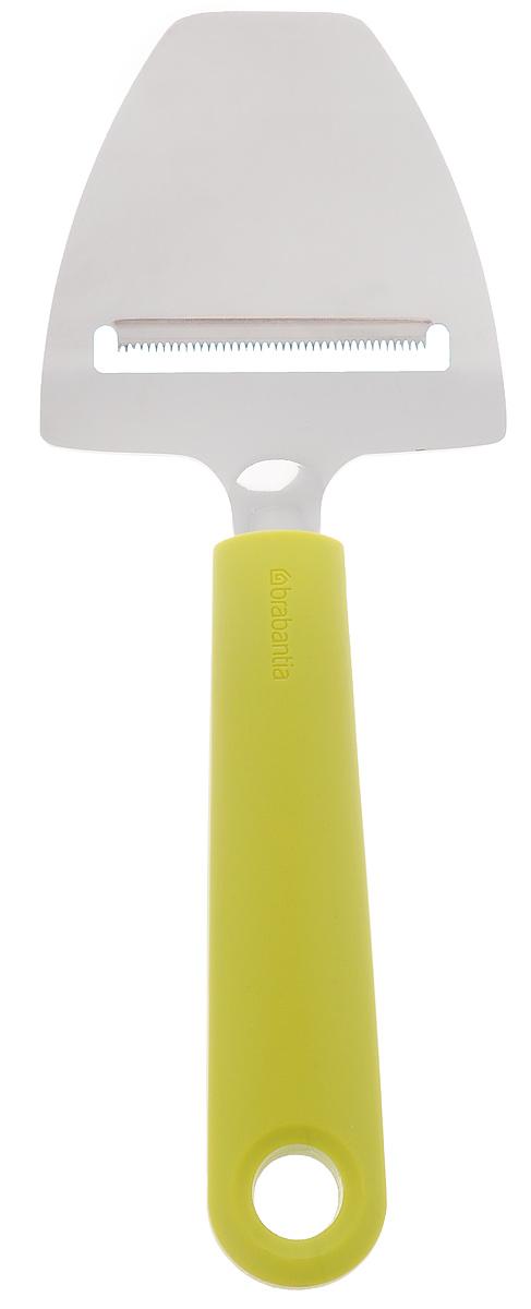 Нож для сыра Brabantia Tasty Colors, цвет: зеленый. 106422106422Нож имеет превосходные режущие свойства благодаря уникальному лезвию с мелкими зубчиками. Подходит как для мягких, так и для твердых сортов сыра. Удобная нарезка сыра без усилий и всегда идеальные сырные ломтики. Ручка из прочного пластика, рабочая часть – из нержавеющей стали. Подходит для мытья в посудомоечной машине. Удобно хранить – петелька для подвешивания.