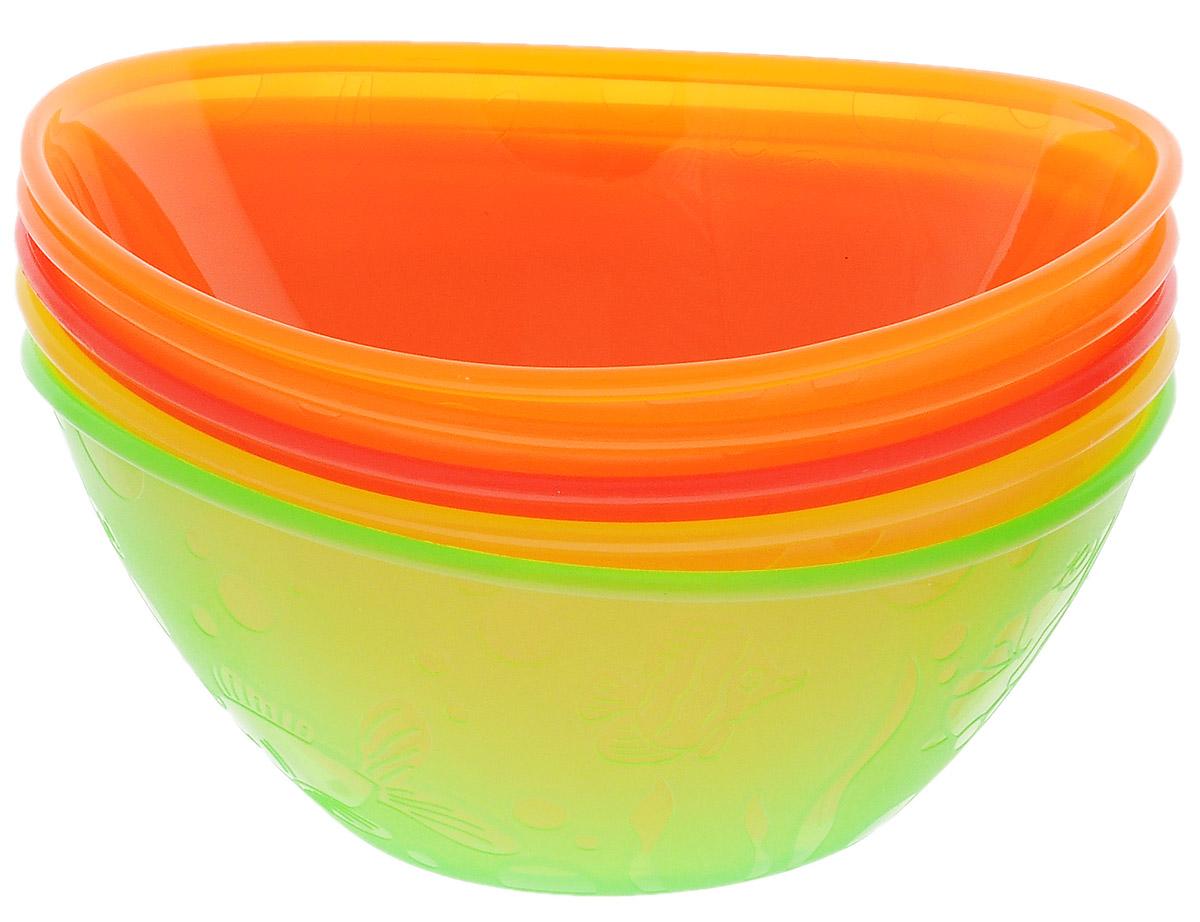 Munchkin Набор детских мисок 5 шт цвет салатовый, желтый, красный, оранжевый11388Яркие миски из набора Munchkin прекрасно подойдут для кормления малыша от 6 месяцев и самостоятельного приема им пищи. Миски выполнены из прочного безопасного пластика насыщенных цветов, не содержащего бисфенол А и фталаты, и оформлены рельефными дизайнерскими рисунками в виде рыбок. Миска подходит для использования в микроволновой печи. Можно мыть на верхней полке в посудомоечной машине. Кредо Munchkin, американской компании с 20-летней историей: избавить мир от надоевших и прозаических товаров, искать умные инновационные решения, которые превращают обыденные задачи в опыт, приносящий удовольствие. Понимая, что наибольшее значение в быту имеют именно мелочи, компания создает уникальные товары, которые помогают поддерживать порядок, организовывать пространство, облегчают уход за детьми - недаром компания имеет уже более 140 патентов и изобретений, используемых в создании ее неповторимой и оригинальной продукции. Munchkin делает жизнь родителей легче!