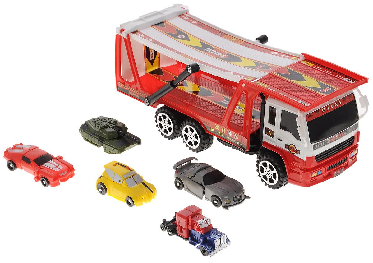 Junfa Toys Игровой набор Автовоз и 5 машинок-трансформеров цвет автовоза красный autotime набор машинок recovery truck long эвакуатор с прицепом
