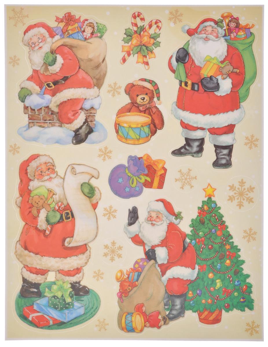 """Новогоднее оконное украшение Lunten Ranta """"Дед Мороз и компания"""" поможет украсить дом к предстоящим праздникам. На одном листе расположены наклейки в виде Деда Мороза, подарков, снежинок, декорированных блестками. Наклейки изготовлены из ПВХ. С помощью этих украшений вы сможете оживить интерьер по своему вкусу, наклеить их на окно, на зеркало или на дверь.Новогодние украшения всегда несут в себе волшебство и красоту праздника. Создайте в своем доме атмосферу тепла, веселья и радости, украшая его всей семьей. Размер листа: 37,5 см х 29 см. Размер самой большой наклейки: 16,5 см х 16 см. Размер самой маленькой наклейки: 3 см х 3 см."""
