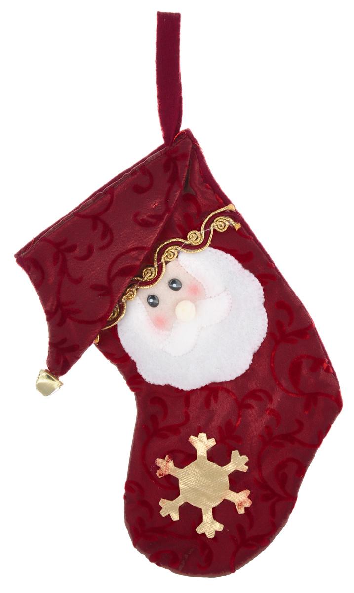 Новогоднее подвесное украшение Феникс-Презент. 2654226542Новогоднее украшение Феникс-Презент, изготовленное из высококачественного полиэстера в виде сапожка, прекрасно подойдет для праздничного декора дома и новогодней ели. Изделие украшено лицом Деда Мороза а также колокольчиком. С помощью специальной текстильной петельки его можно повесить в любом понравившемся вам месте. Но, конечно, удачнее всего такая игрушка будет смотреться на праздничной елке. Елочная игрушка - символ Нового года. Она несет в себе волшебство и красоту праздника. Создайте в своем доме атмосферу веселья и радости, украшая новогоднюю елку нарядными игрушками, которые будут из года в год накапливать теплоту воспоминаний.Размер украшения: 21,6 см.