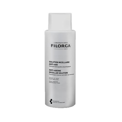 Filorga Мицеллярный раствор Anti-Age 400 млDCGP037Мицеллярный раствор Anti-Age - гармоничное дополнение к средствам марки против старения кожи. Бережно очищает кожу и удаляет макияж без раздражения. Трегалоза способствует сохранению влаги в клетках и обеспечивает коже максимальный комфорт. Полисахарид рамнозы оказывает успокаивающее и восстанавливающее действие, и борется со старением кожи.Удаление макияжа и очищение - это первый и самый важный этап ритуала красоты вашей кожи. Он подготавливает кожу к дальнейшему нанесению средств против старения и повышает эффективность их действия. Эффективность: 100% не раздражает глаза; 73% удаляет макияж, даже водостойкий;95% сохраняет физиологические свойства кожи;91% дарит ощущение комфорта; 77% увлажняет кожу;Тест, проведенный под офтальмологическим контролем на 22 пациентах от 24 до 70 лет: применение 2 раза в день в течение 7 дней, лицо и глаза.Бережно очищает кожу и удаляет макияж без раздражения. Придает ощущение мягкости и бархатистости.