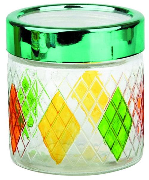 """Банка Bohmann """"Ромбы"""" изготовлена из стекла. Емкость снабжена пластиковой крышкой, которая плотно закрывается, дольше сохраняя аромат и свежесть содержимого. Банка подходит для хранения сыпучих продуктов: круп, специй, сахара, соли. Такая банка станет полезным приобретением и пригодится на любой кухне. Диаметр (по верхнему краю): 10,5 см. Высота (без учета крышки): 12 см."""