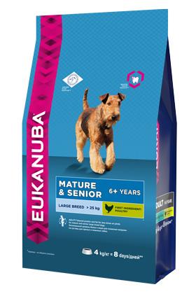 Корм Eukanuba Dog для пожилых собак крупных пород 4 кг eukanuba сухой корм eukanuba puppy large breed для щенков крупных пород с курицей 15 кг