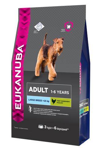 Корм Eukanuba Dog, для взрослых собак крупных пород, 3 кг eukanuba сухой корм eukanuba puppy large breed для щенков крупных пород с курицей 15 кг