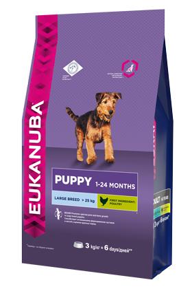 Корм сухой Eukanuba для щенков крупных пород, с домашней птицей, 3 кг eukanuba сухой корм eukanuba puppy large breed для щенков крупных пород с курицей 15 кг