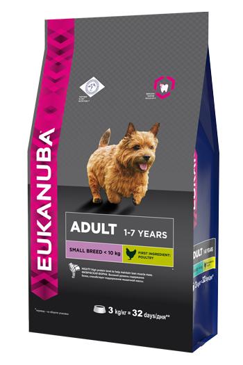 Корм Eukanuba Dog, для взрослых собак мелких пород, 3 кг10137706Корм сухой полнорационный Eukanuba для взрослых собак мелких пород от 1 до 7 лет (до 10 кг).Профессиональное сбалансированное питание, специально разработанное с учетом особенностей собак мелких пород в возрасте от 1 до 7 лет.1. ФИЗИЧЕСКАЯ ФОРМА: высокий уровень содержания белка способствует поддержанию мышечной массы.2. ЗУБЫ: клинически доказанная эффективность в борьбе с образованием зубного камня за дней. Сокращает образование зубного налета и поддерживает здоровый блеск.3. ЗАЩИТА: способствует поддержанию естественной защиты организма собак при помощи антиоксидантов, эффективность которых доказана клинически.4. БЛЕСК: поддерживает здоровье кожи и красоту шерсти собак при помощи оптимального соотношения жирных кислот омега-3 и омега-6, эффективность которого доказана клинически.