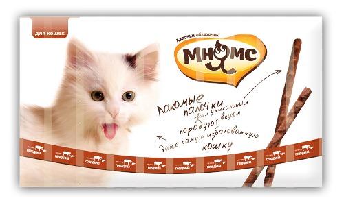 Лакомые палочки Мнямс, для кошек, с говядиной и печенью, 10 х 5 г, 13,5 см лакомство мнямс деликатес лакомые палочки 9 см для кошек с курицей и лесными ягодами 4 г 3 шт