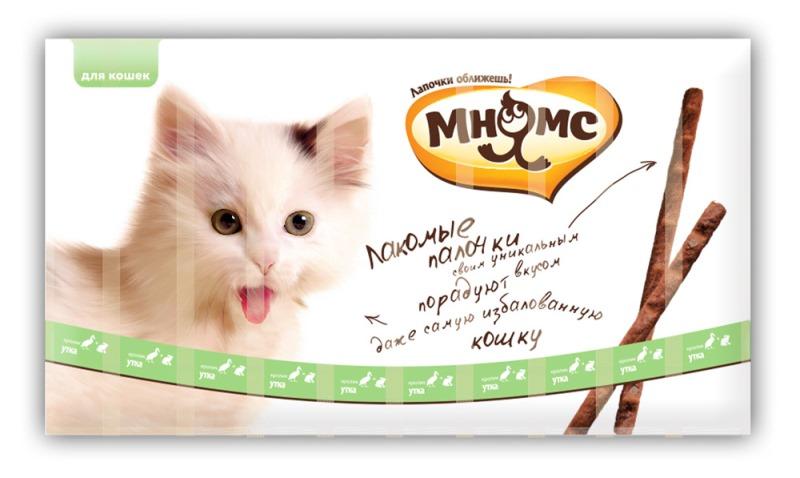 Лакомые палочки Мнямс, для кошек, с уткой и кроликом, 10 х 5 г, длина 13,5 см701139Мягкие лакомые палочки со вкусом утки и кролика. Натуральная мясная структура палочки.Лакомые палочки Мнямс – это аппетитное и полезное угощение, которое придется по вкусу даже самой привередливой и избалованной кошке. Каждая палочка надолго сохраняет вкус и аромат благодаря индивидуальной упаковке. В одной упаковке 10 лакомых палочек по 5 г.