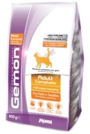 Корм Gemon Cat, для взрослых кошек, с курицей и индейкой, 400 г70297004Полнорационное питание для кошек от 1 до 10 лет. Оптимальное соотношение жирных кислот омега-3 и омега-6 улучшает здоровье кожи и шерсти. ФОС и МОС регулируют баланс кишечной бактериальной флоры животного и обеспечивают правильную работу пищеварительной системы. Хорошо усваиваемая формула корма содержит Юкку Шидигера, которая помогает уменьшить запах фекалий. Низкое содержание магния и нейтральный Ph обеспечивают профилактику мочекаменных заболеваний. Не содержит искусственных красителей и консервантов.