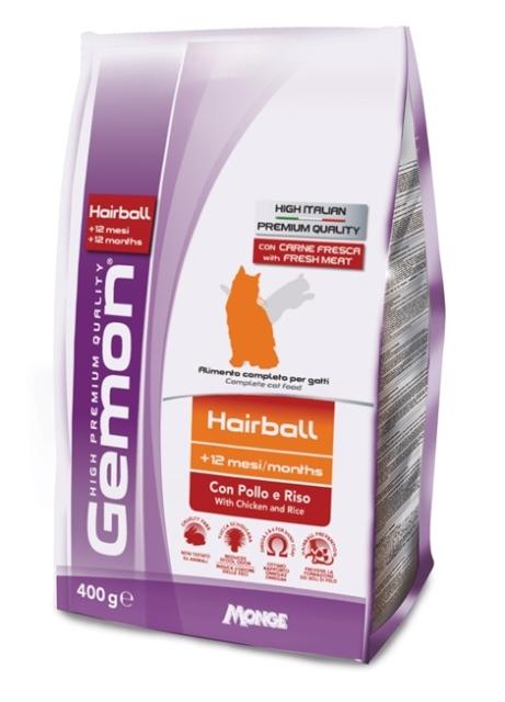 Корм Gemon Cat Hairball, для выведение шерсти, для взрослых кошек, с курицей и рисом, 400 г корм сухой наша марка для привередливых кошек с лососем и рисом 400 г