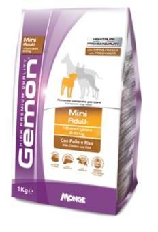 Корм Gemon Dog Mini, для взрослых собак мелких пород, курица с рисом, 3 кг корм для взрослых собак малых пород pedigree с говядиной 2 2 кг