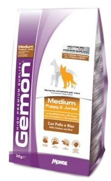 Корм Gemon Dog Medium, для щенков средних пород, с курицей и рисом, 15 кг корм вака high quality для средних попугаев 500 гр