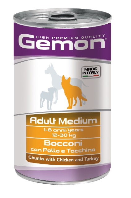 Консервы Gemon Dog Medium для собак средних пород кусочки курицы с индейкой 1250 г