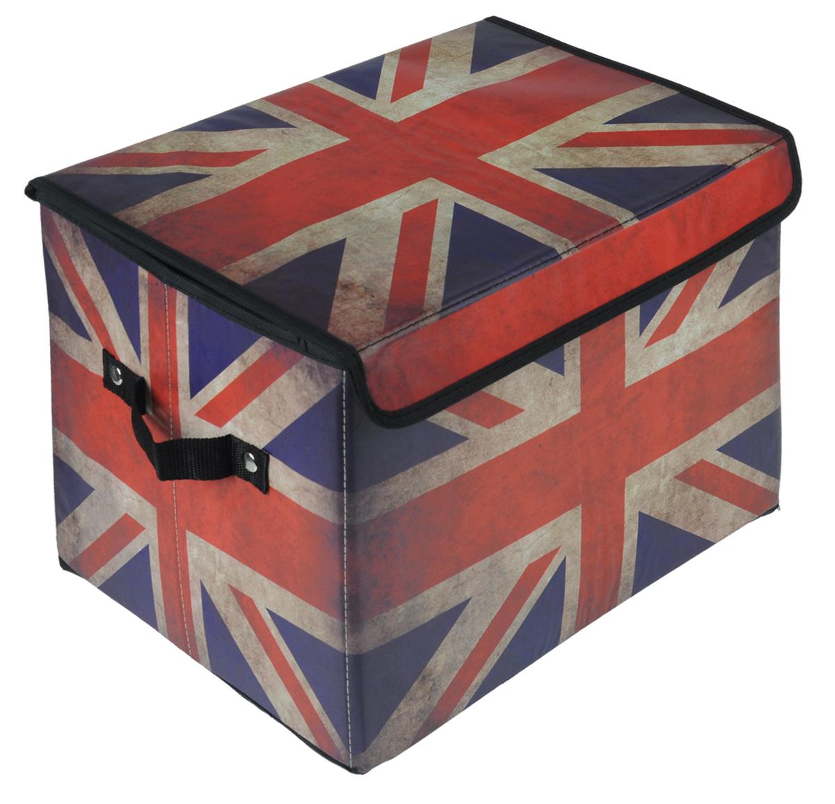 Кофр для хранения El Casa Британский флаг, складной, 39 см х 26 см х 26 см171143Складной кофр El Casa Британский флаг, выполненный из МДФ и экокожи, понравится всем ценителям оригинальных вещей. Благодаря удобной конструкции складывается и раскладывается одним движением. В сложенном виде изделие занимает минимум места, его легко хранить и перевозить. В таком кофре можно хранить всевозможные предметы: книги, игрушки, рукоделие. Яркий дизайн привнесет в ваш интерьер неповторимый шарм.Размер кофра (в собранном виде): 39 см х 26 см х 26 см.