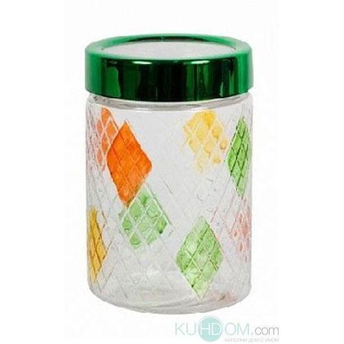 Банка для сыпучих продуктов Bohmann Ромбы, цвет: прозрачный, оранжевый, зеленый, 1,3 л