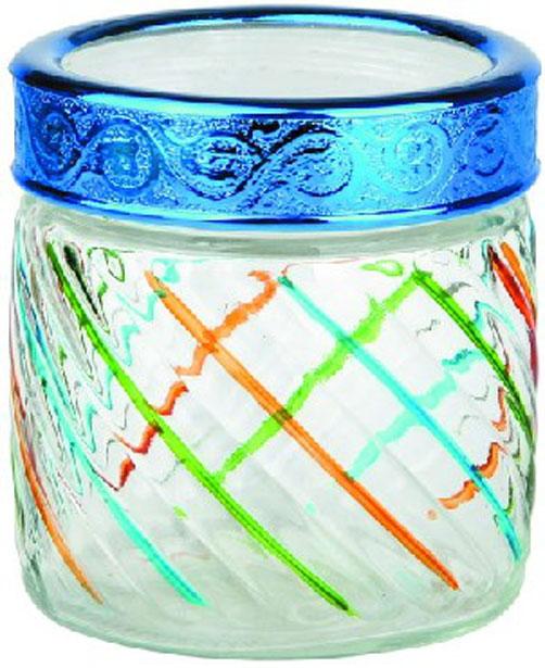 Банка для сыпучих продуктов Bohmann Полосы, цвет: прозрачный, синий, зеленый, 850 мл банка для сыпучих продуктов сладости 850 мл