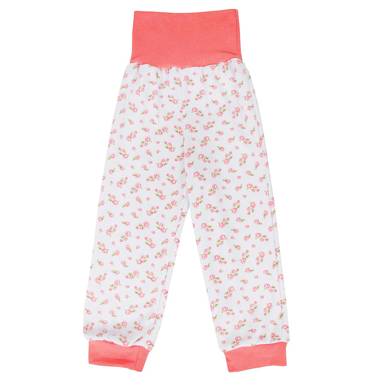 Штанишки на широком поясе для девочки КотМарКот, цвет: белый, розовый. 3566. Размер 56, 0-1 месяц брюки котмаркот штанишки сердечко