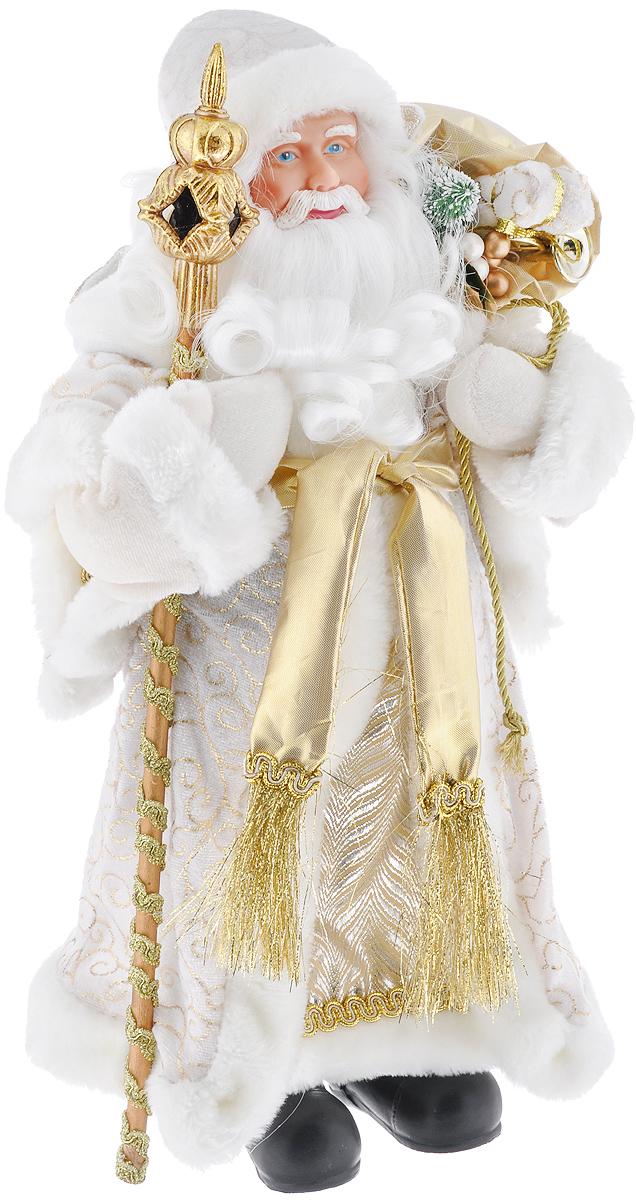 Новогодняя фигурка Феникс-презент Дед Мороз, цвет: белый, золотой, 41 см. 3909139093Декоративная фигурка Феникс-презент Дед Мороз изготовлена из пластика и ткани. Она подойдет для оформления новогоднего интерьера и принесет с собой атмосферу радости и веселья. Дед Мороз одет в белые брюки и длинную шубу с красивыми узорами, подвязанную ремешком с кисточками. На голове - шапка с мехом, на ногах - черные башмачки. В руках он держит посох и мешок с подарками. Его добрый вид и очаровательная густая, белая борода притягивают к себе восторженные взгляды.Коллекция декоративных украшений из серии Magic Time принесет в ваш дом ни с чем не сравнимое ощущение волшебства!Новогодние украшения всегда несут в себе волшебство и красоту праздника. Создайте в своем доме атмосферу тепла, веселья и радости, украшая его всей семьей.Высота фигурки: 41 см.