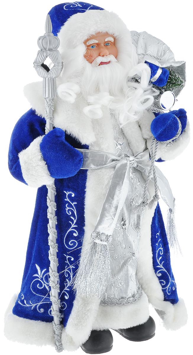 Новогодняя фигурка Феникс-презент Дед Мороз, цвет: белый, синий, серебристый, 41 см. 3909139091/75902Декоративная фигурка Феникс-презент Дед Мороз изготовлена из пластика и ткани. Она подойдет для оформления новогоднего интерьера и принесет с собой атмосферу радости и веселья. Дед Мороз одет в белые брюки и длинную шубу с красивыми узорами, подвязанную ремешком с кисточками. На голове - шапка с мехом, на ногах - черные башмачки. В руках он держит посох и мешок с подарками. Его добрый вид и очаровательная густая, белая борода притягивают к себе восторженные взгляды.Коллекция декоративных украшений из серии Magic Time принесет в ваш дом ни с чем не сравнимое ощущение волшебства!Новогодние украшения всегда несут в себе волшебство и красоту праздника. Создайте в своем доме атмосферу тепла, веселья и радости, украшая его всей семьей.Высота фигурки: 41 см.