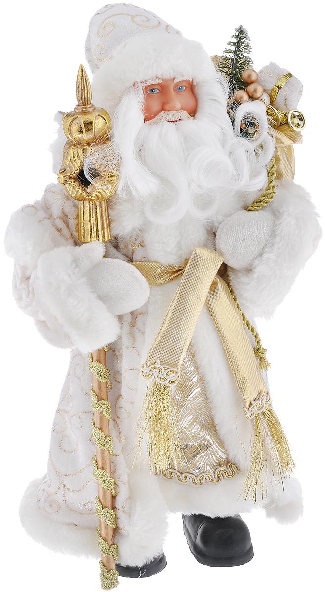 Новогодняя фигурка Феникс-презент Дед Мороз в золотом костюме, высота 30 см38606Новогодняя фигурка Феникс-презент Дед Мороз в золотом костюме прекрасно подойдет для оформления новогоднего интерьера и принесет с собой атмосферу радости и веселья.Дед Мороз одет в белые брюки и длинную золотую шубу с белой опушкой и поясом, украшенную золотистой тесьмой и красивыми узорами. На голове - шапка с мехом в тон шубы, на ногах - черные башмачки. В руках он держит посох и мешок с подарками. Его добрый вид и очаровательная густая белая борода притягивают к себе восторженные взгляды. Коллекция декоративных украшений из серии Magic Time принесет в ваш дом ни с чем не сравнимое ощущение волшебства! Новогодние украшения всегда несут в себе волшебство и красоту праздника. Создайте в своем доме атмосферу тепла, веселья и радости, украшая его всей семьей. Высота фигурки: 30 см.